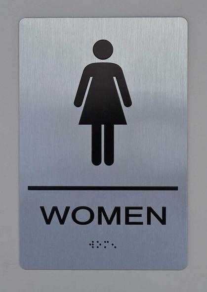 SIGNS Women ADA Sign -Tactile Signs (Aluminium,