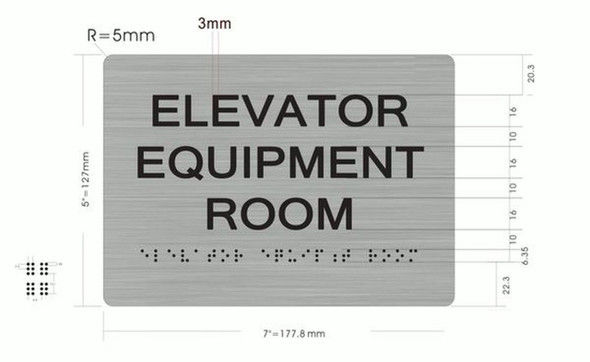 SIGNS Elevator Equipment Room ADA-Sign -Tactile Signs