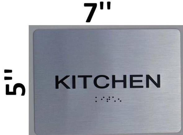 SIGNS Kitchen ADA Sign (Aluminium, Brush Silver,Size