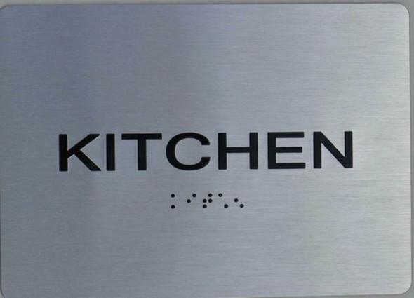 Kitchen ADA Sign (Aluminium, Brush Silver,Size