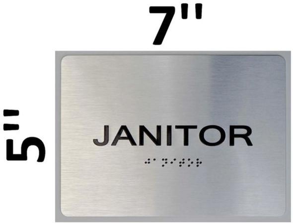 SIGNS Janitor ADA Sign -Tactile Signs (Aluminium,