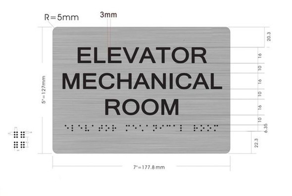 SIGNS Elevator Mechanical Room ADA-Sign -Tactile Signs