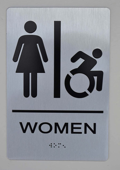 SIGNS NYC Women Accessible Restroom Sign -Tactile