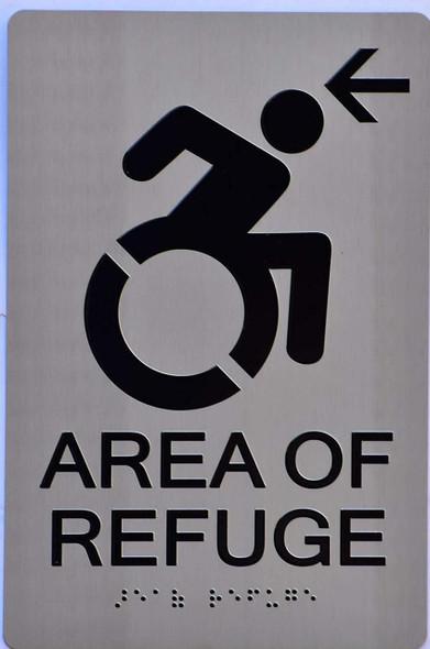 SIGNS area of refuge arrow left Sign
