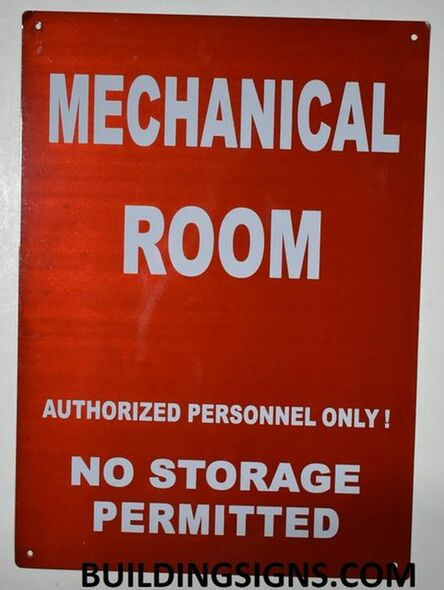 SIGNS Mechanical Room Sign- RED - (Reflective