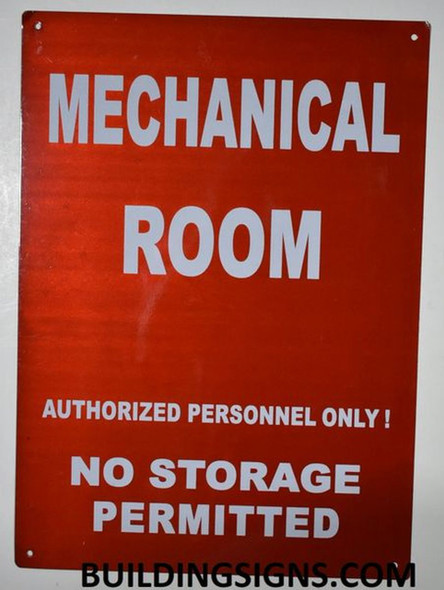 Mechanical Room Sign- RED - (Reflective