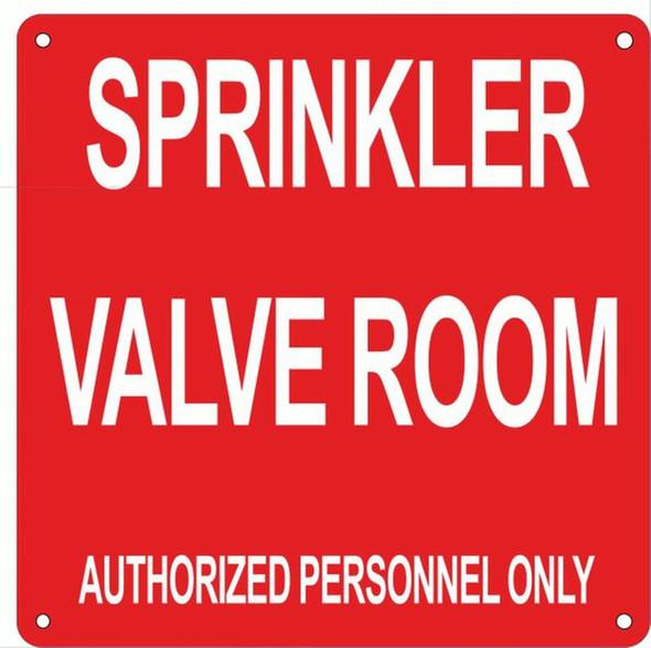SIGNS Sprinkler Valve Room Sign (red,Reflective, Aluminum