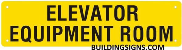 Elevator Equipment Room Sign (Yellow, Reflective,