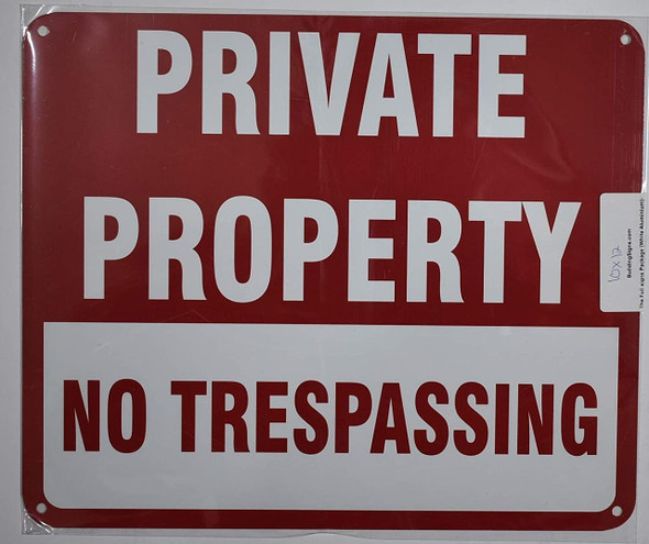 Private Property NO TRESPASSING Sign- RED
