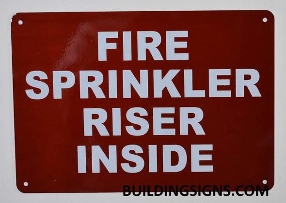 SIGNS FIRE Sprinkler Riser Inside Sign (RED,Reflective,