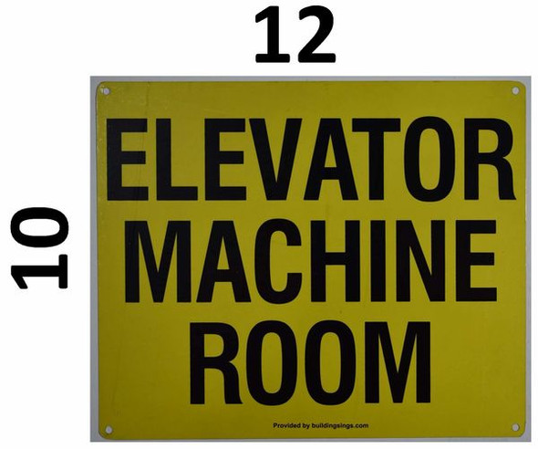 SIGNS Elevator Machine Room Sign (White, Reflective,