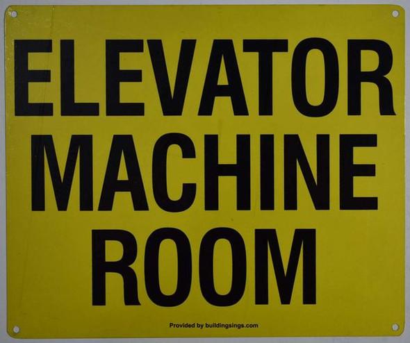 Elevator Machine Room Sign (White, Reflective,