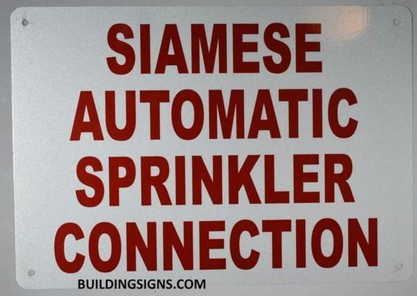 SIGNS Sprinkler Siamese Sign (White, Reflective, Aluminium