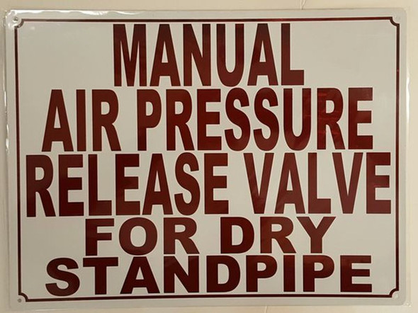 Manual AIR Release Valve Sign (White,