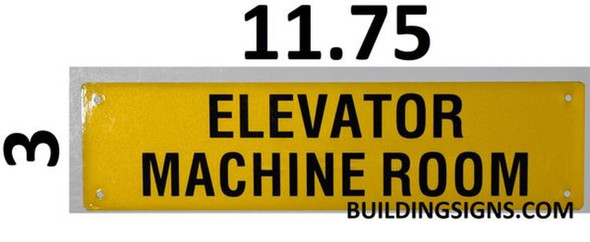 SIGNS Elevator Machine Room Sign (Yellow, Reflective,