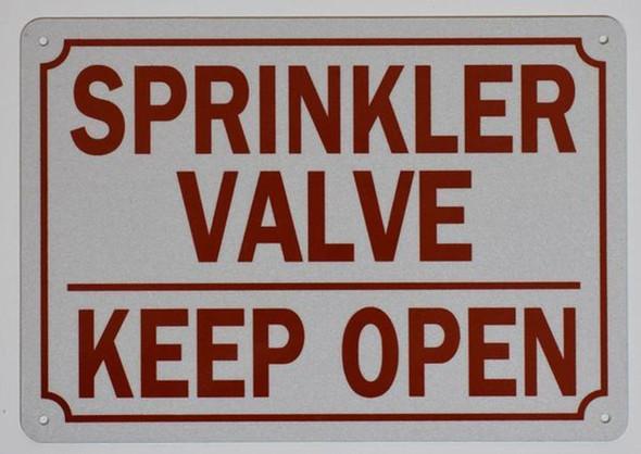 Sprinkler Valve Keep Open Sign (White,