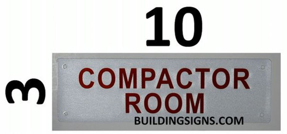 SIGNS Compactor Room Sign (White, Reflective, Aluminium
