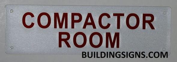 Compactor Room Sign (White, Reflective, Aluminium