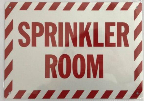 SIGNS Sprinkler Room Sign (White, Reflective, Aluminium
