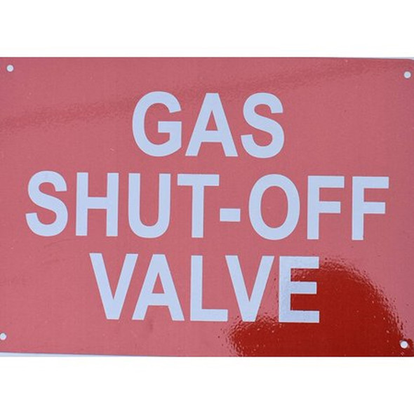 SIGNS Gas Shut-Off Valve Sign (Reflective red,Aluminum,