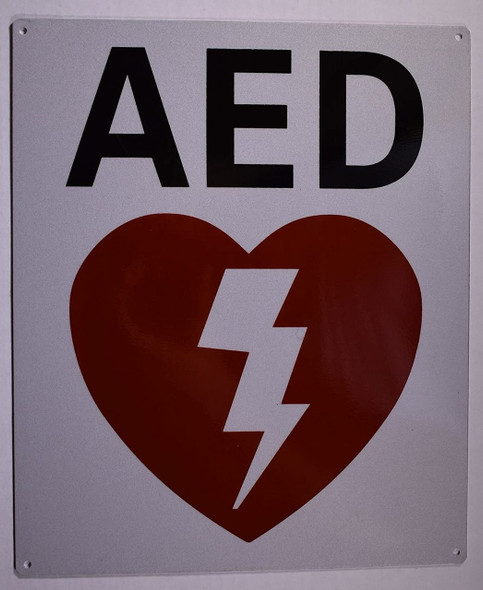 SIGNS Automated External Defibrillator Sign (Reflective,White, Aluminium