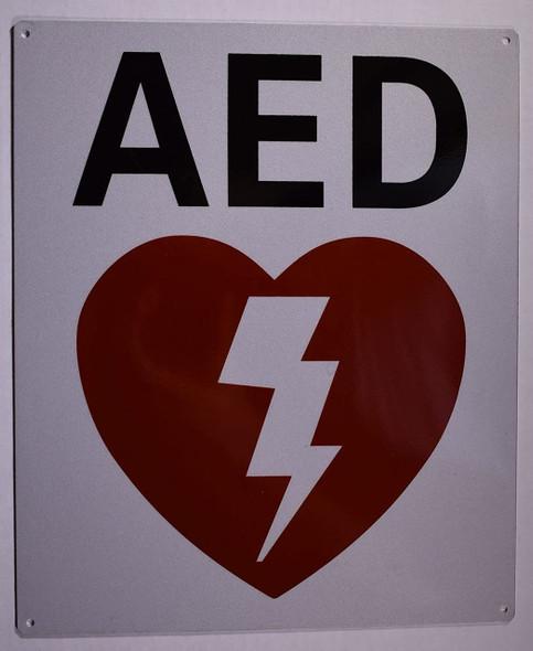Automated External Defibrillator Sign (Reflective,White, Aluminium