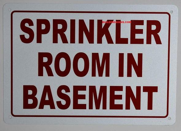 SPRINKLER ROOM IN BASEMENT SIGN (ALUMINUM