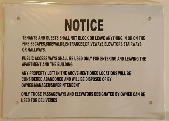 SIGNS Do not block Hallway sign (Aluminium,