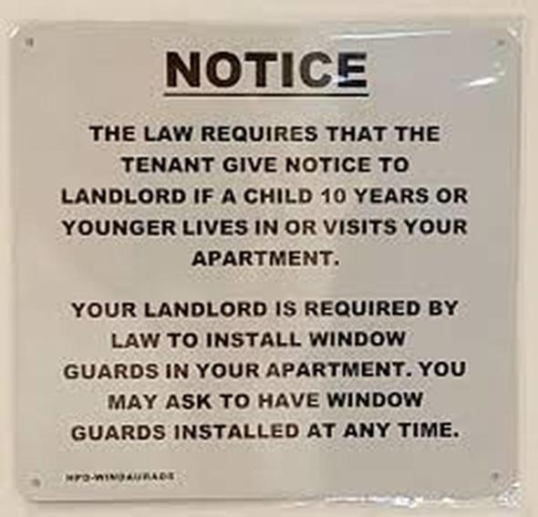 SIGNS HPD Window Guard sign (white,Aluminium 8.5
