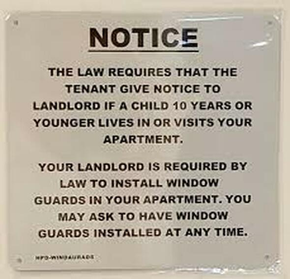 HPD Window Guard sign (white,Aluminium 8.5