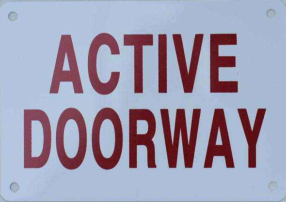 Active Doorway Sign (Aluminium Reflective, RED