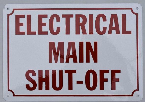 SIGNS Electrical Main Shut Off Sign (Aluminium