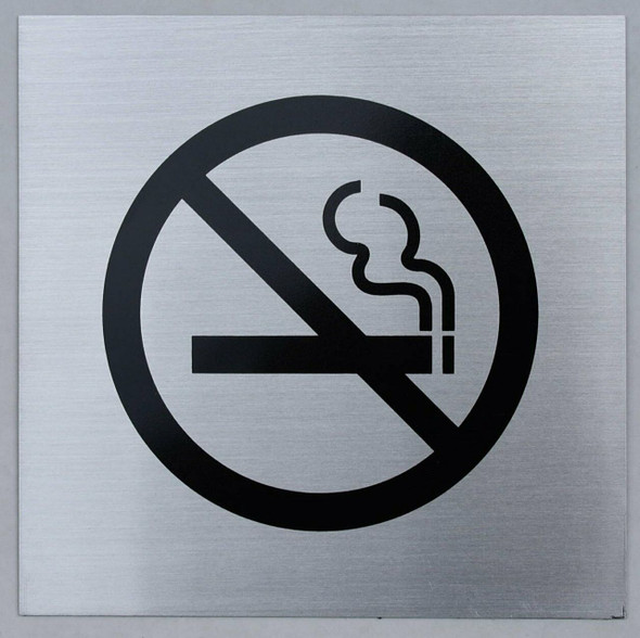 No Smoking Symbol Sign (Brush Aluminium,