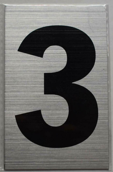 Apartment Number Sign - Three (3)(Brush