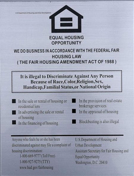 Equal HOUSING Opportunity Sign (Brush Aluminium,