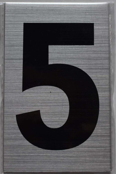 Apartment Number Sign Five (5) (Brush