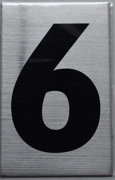 Apartment Number Sign Six (6) (Brush