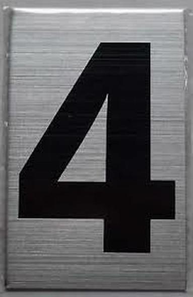 Apartment Number Sign Four (4) (Brush