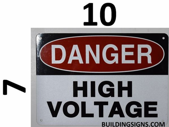 SIGNS Danger HIGH Voltage Sign (White, Reflective