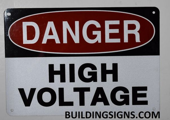 Danger HIGH Voltage Sign (White, Reflective