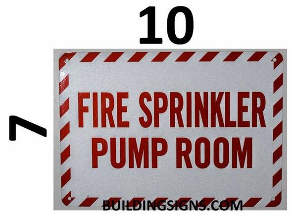 SIGNS FIRE Sprinkler Pump Room Sign (White,