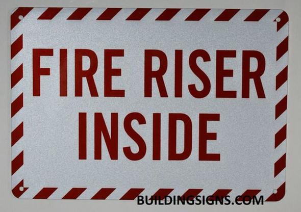FIRE Sprinkler Riser Sign (White, Reflective