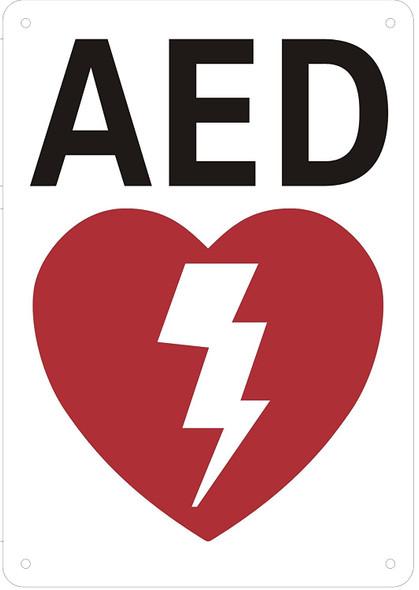 AED Sign (White Background, Aluminium 7X10)-(ref062020)