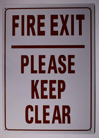 SIGNS FIRE EXIT Please Keep Clear Sign