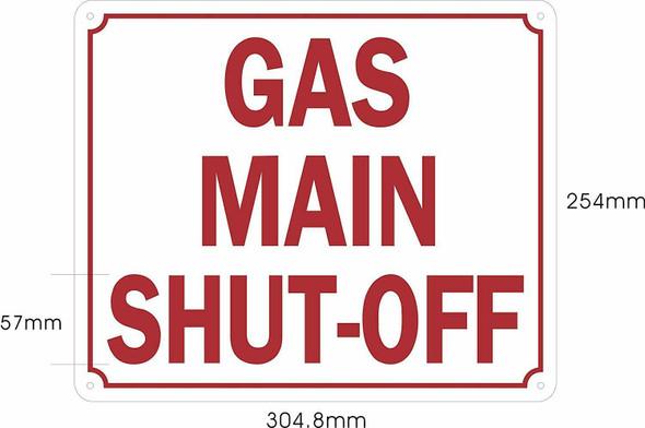 Gas Main Shut-Off Sign (Aluminium Reflective,