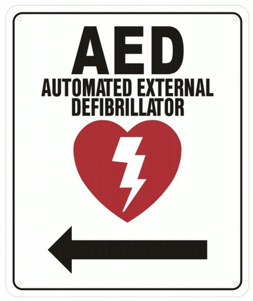 SIGNS AED AUTOMATED External DEFIBRILLATOR Arrow Left