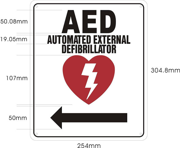 SIGNS AED AUTOMATED External DEFIBRILLATOR (Arrow Right,