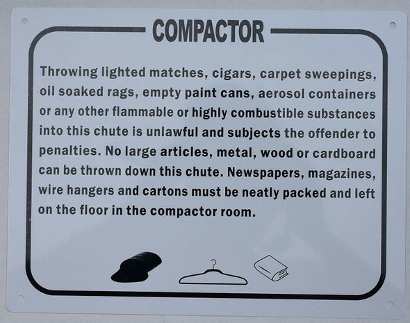 SIGNS Compactor Rules Sign (, Aluminium, White