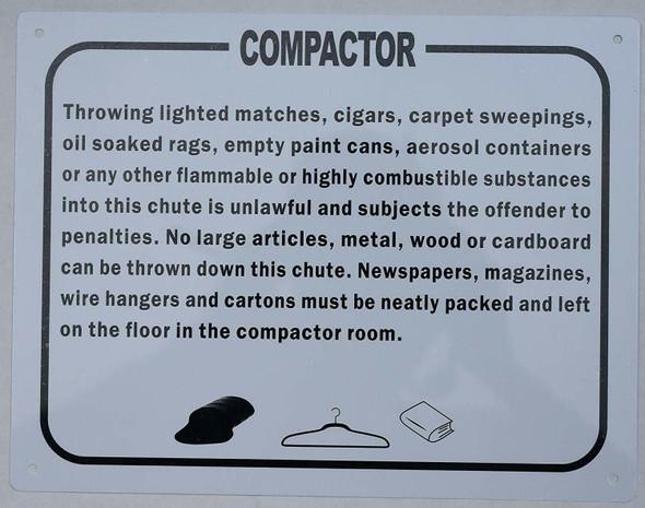 Compactor Rules Sign (, Aluminium, White