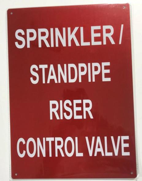 SIGNS SPRINKLER STANDPIPE RISER CONTROL VALVE SIGN